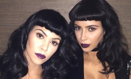 "Kim Kardashian and Kourtney Kardashian ""Chill,"" Flaunt Cleavage"