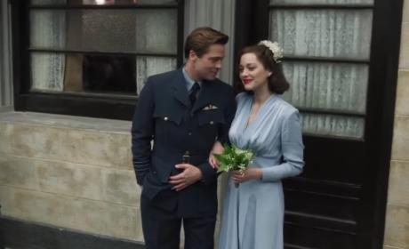Brad Pitt Marion Cotillard Wedding Scene Allied Pic