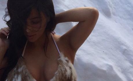 Kim Kardashian Bikini in Snow