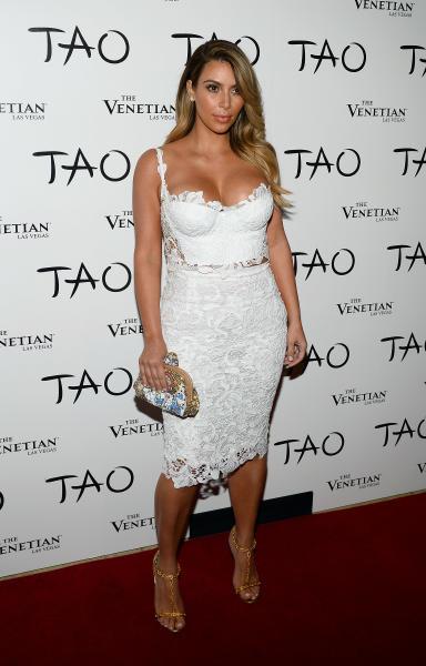 Kim Kardashian Lace Outfit Tao Nightclub Birthday