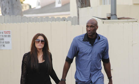 Khloe Kardashian & Lamar Odom Film at Cafe Med