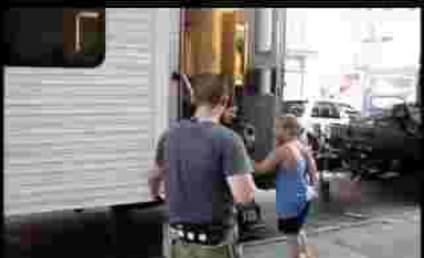 Mischa Barton Falls Out of Trailer