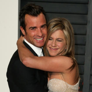 Justin Theroux Hugs Jennifer Aniston