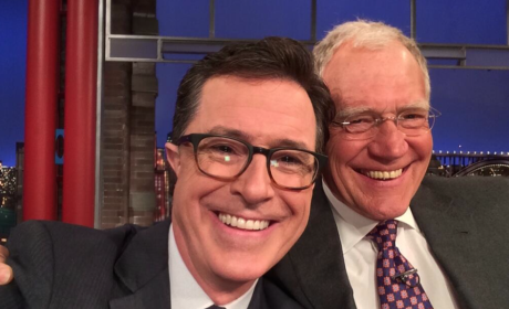 Stephen Colbert and David Letterman