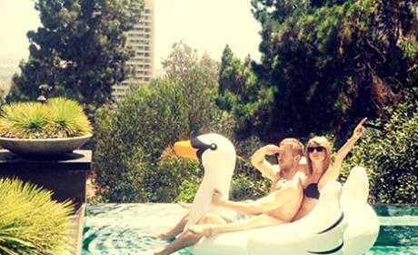 Taylor Swift and Calvin Harris Strip Down, Ride Floating Swan