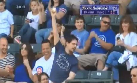 Cubs Fan Foul Ball Catch