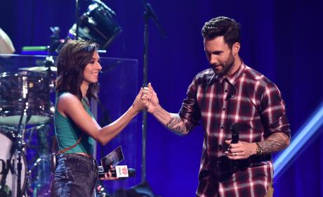 Christina Grimmie and Adam Levine