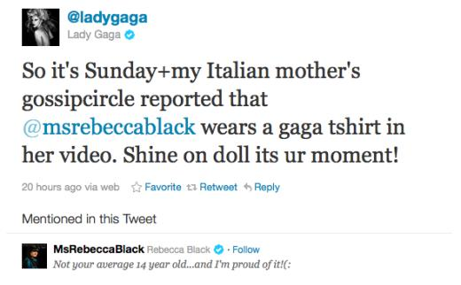 Gaga tweet to RB