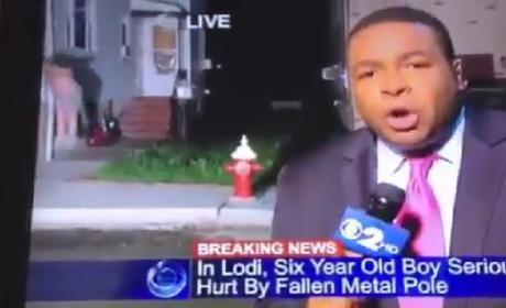 Local News Team Accidentally Captures Shirtless Guy's Escape From Window