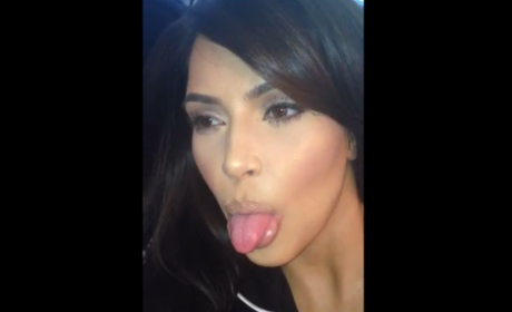 Kim Kardashian Sticks Tongue Out in Random New Video