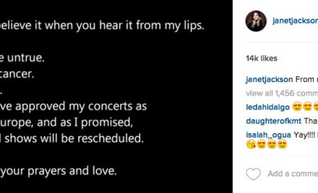 Janet Jackson Instagram Cancer Denial