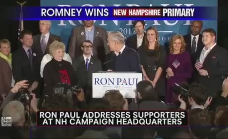 "Ron Paul Claims ""Victory For Liberty"" in New Hampshire Primary"