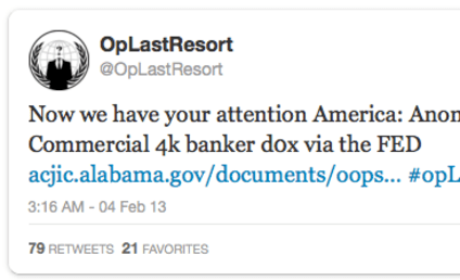 "Anonymous Hacks Bank Execs' Info; ""Operation Last Resort"" Anchored By Aaron Swartz Tragedy"