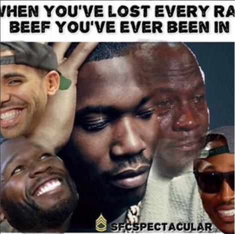 50 Cent meme of Meek Mill posted to Instagram