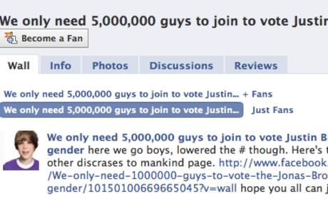 Facebook Group Vows to Vote Justin Bieber Out of Male Gender