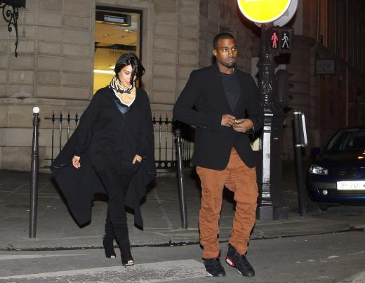 Kim Kardashian and Kanye West in England