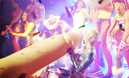 Miley Cyrus Pretends to Suck Off Inflatable Penis, Doll
