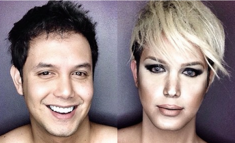 Guy Transforms Into Female Stars With Makeup, Wigs