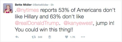 Bette Midler tweets to Kanye
