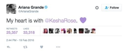 Ariana Grande tweets support to Kesha