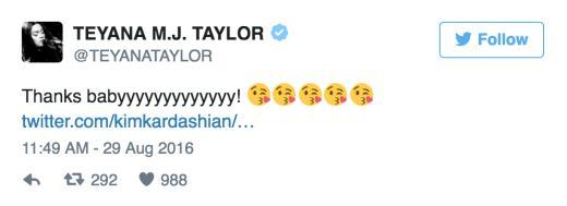Teyana Taylor Thanks Kim Kardashian