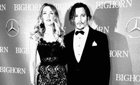 Amber Heard and Johnny Depp in Black and White
