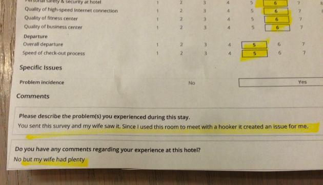 Hotel Survey Response