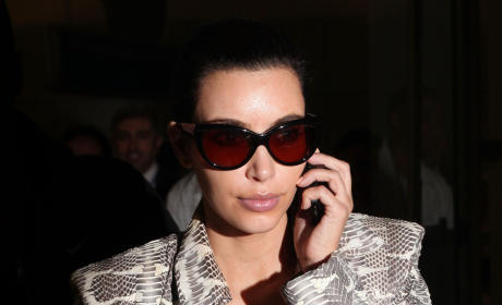 Kim Kardashian on the Phone