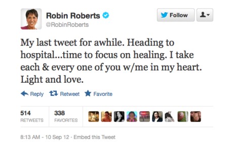 """Robin Roberts Heads to Hospital to """"Focus on Healing"""""""