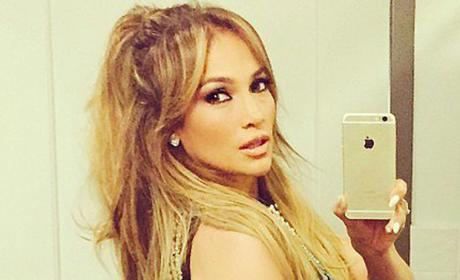 Jennifer Lopez selfie in black