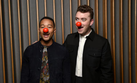 John Legend and Sam Smith in Red Noses