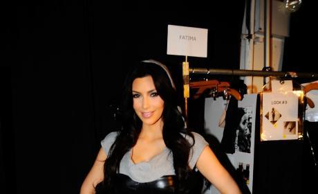 Kim Kardashian Poses Backstage at the Bebe - Kardashian Fall 2010 Fashion Show