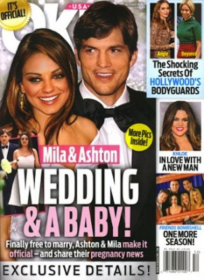 Mila Kunis and Ashton Kutcher Tabloid Cover