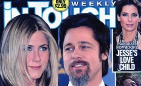 Jennifer Aniston and Brad Pitt Caught Kissing, Tabloid Hilariously Reports
