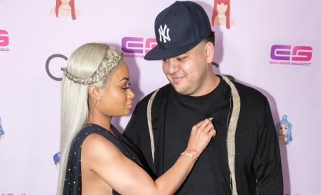Blac Chyna Lovingly Picks Something Off Rob Kardashian's Shirt