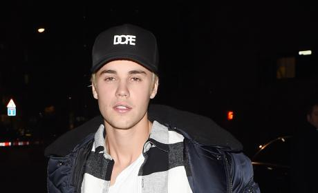 Justin Bieber Arrives at Tape Nightclub in London
