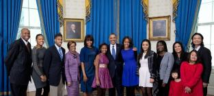 Obama Family Photo: Extended, Slightly Awkward!