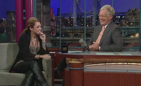 Miley with Letterman