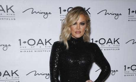 Khloe Kardashian Poses For Photos in a Sequined Onesie at 1 OAK