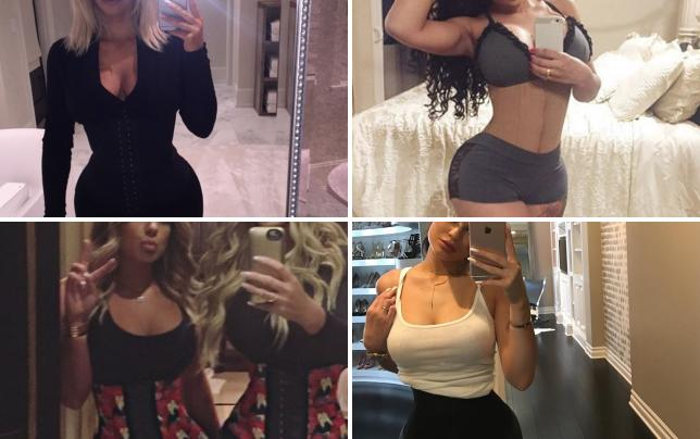 Kim kardashian waist training selfie
