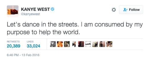 Kanye dance tweet