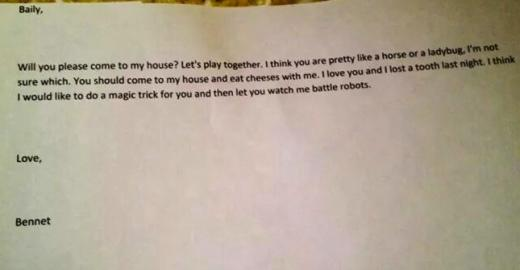 Four Year Old Boy Writes Love Letter To Girl Invites Her