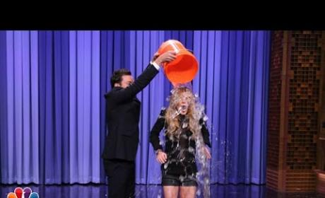 Jimmy Fallon Helps Lindsay Lohan Accept ALS Ice Bucket Challenge: Watch Her Get Wet!