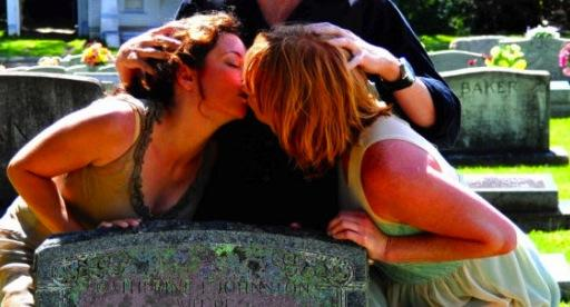 Gay kiss at grave