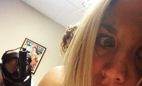 Kaley Cuoco Varicose Vein Selfie