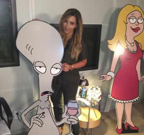 Kim Kardashian on American Dad Set