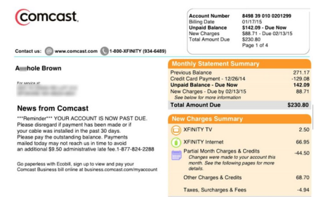 "Comcast Apologizes For Renaming Customer ""A--hole Brown"" on Bill"