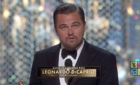 Leonardo DiCaprio Wins Best Actor, Talks Climate Change