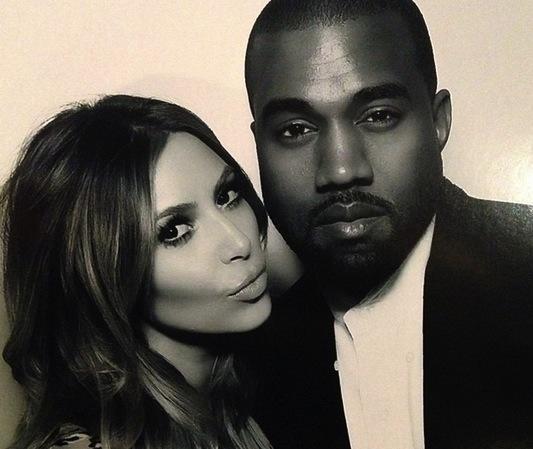 Kim Kardashian and Kanye West Pose