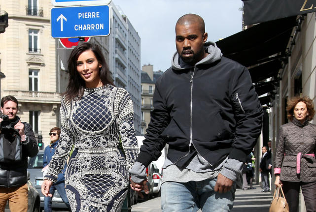 Kim Kardashian and Kanye West Walk in Paris